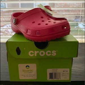 Girls original pink crocs
